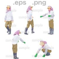 農作業人物イラスト (EPS , PNG )   NO_001