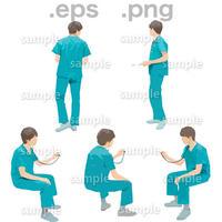 医師人物イラスト (EPS , PNG )   IS_002