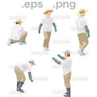 農作業人物イラスト (EPS , PNG )   NO_002