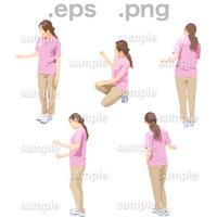 介護スタッフ人物イラスト (EPS , PNG )   KAIGO_002