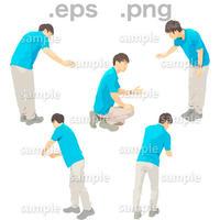 介護スタッフ人物イラスト (EPS , PNG )   KAIGO_004