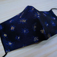 M 西陣織 金襴 絹織物 マスク 紺地  24insects