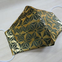 Lサイズ! 西陣織 金襴 絹織物 マスク 緑地 麻の葉紋様  光箔