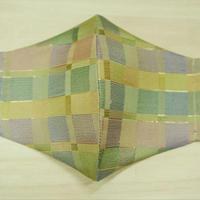 Lサイズ! 西陣織 金襴 絹織物 マスク 白茶地 格子紋様
