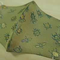 西陣織 金襴 絹織物 マスク 白茶地 24insects紋様