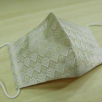 M 西陣織 金襴 絹織物 マスク 白地 菱つなぎ紋様 白金