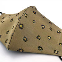 Lサイズ! 西陣織 金襴 絹織物 マスク 白茶地 ストライプ&フラワー紋様 K 紺緑