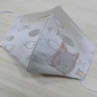 Lサイズ! 西陣織 金襴 絹織物 マスク nya! cat にっこりちゃん 桃色