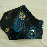 Lサイズ! 西陣織 金襴 絹織物 布マスク 夜の虫紋様 黒地 D