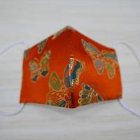 西陣織 金襴 絹織物 マスク 朱地 蝶紋様