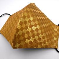 Lサイズ! 西陣織 金襴 絹織物 マスク 利休茶地 市松紋様  光箔