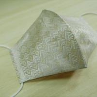 Lサイズ! 西陣織 金襴 絹織物 マスク 白地 菱つなぎ紋様 白金