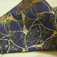 Lサイズ! 西陣織 金襴 絹織物 マスク 紺地 葉脈紋様  青&紫