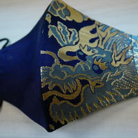 Lサイズ! 西陣織 金襴 絹織物 マスク 紺地 ドラゴン紋様  青金