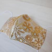 M 西陣織 金襴 絹織物 マスク 白地 白黄 雪輪紋様