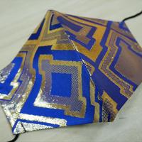 Lサイズ! 西陣織 金襴 絹織物 マスク 青地 三階菱紋様
