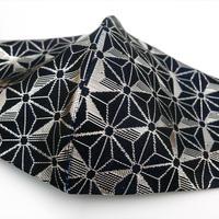 Lサイズ! 西陣織 金襴 絹織物 布マスク 麻の葉紋様 黒地に銀