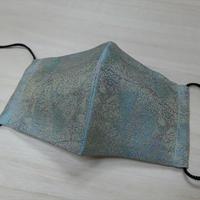Lサイズ! 西陣織 金襴 絹織物 マスク 葉脈紋様 絹100%