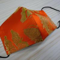 Lサイズ! 西陣織 金襴 絹織物 マスク 朱地 蝶紋様  金