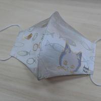 Lサイズ! 西陣織 金襴 絹織物 マスク nya! cat にっこりちゃん 水色