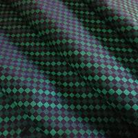 西陣織 絹100% 市松格子 黒地に緑配色 約一尺