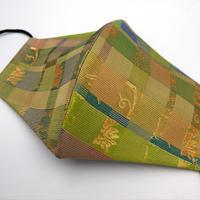Lサイズ! 西陣織 金襴 絹織物 マスク 白茶地  格子唐草紋様