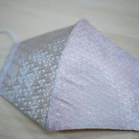 Lサイズ! 西陣織 金襴 絹織物 布マスク 白地 独楽つなぎ紋様 白金