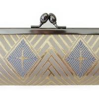 西陣金襴 正絹 仕切り付き がまぐち 白茶地 菱つなぎ紋様