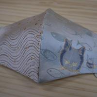 Lサイズ! 西陣織 金襴 絹織物 マスク nya! cat にらみちゃん 水色 と水紋揺らぎ紋様のコンビ