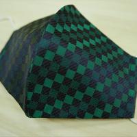 Lサイズ! 西陣織 金襴 絹織物 布マスク 紺地 黒 緑配色 市松格子紋様 絹100%