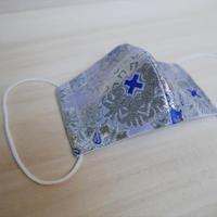 M 西陣織 金襴 絹織物 マスク 白地 白銀 雪輪紋様