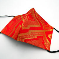 M 西陣織 金襴 絹織物 マスク 赤地 三階菱紋様