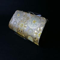 全正絹 西陣織 金襴 雪輪紋様 クラッチバッグB