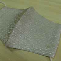 M  西陣織 金襴 絹織物 マスク 白地 独楽つなぎ紋様 白銀
