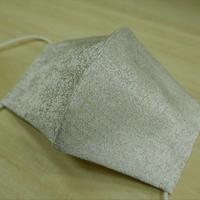 M 西陣織 金襴 絹織物 マスク 白地 ピンドット紋様 白金