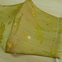 M 西陣織 金襴 絹織物 マスク 白茶地 ミモザ紋様 光箔