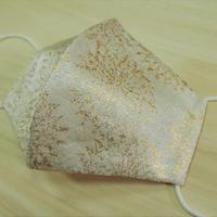 Lサイズ! 西陣織 金襴 絹織物 マスク 白地 古都唐花紋様 白金