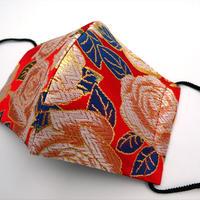 M 西陣織 金襴 絹織物 布マスク バラ紋様