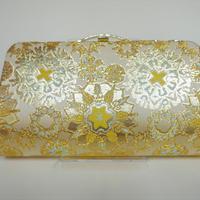 全正絹 西陣織 金襴 雪輪紋様 クラッチバッグC