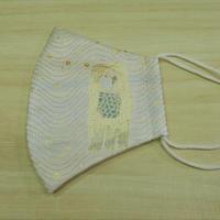 M 西陣織 金襴 絹織物 マスク アマビエ様と水紋紋様