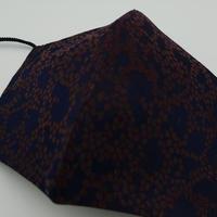 M 西陣織 金襴 絹織物 マスク 紺地 Cell紋様 B
