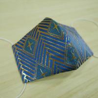 Lサイズ! 西陣織 金襴 絹織物 マスク 青地 菱つなぎ紋様