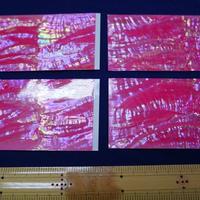 日本アワビピンク螺鈿箔 シール加工で便利。はさみで切れます