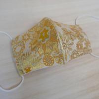 Lサイズ! 西陣織 金襴 絹織物 マスク 白地 白黄 雪輪紋様