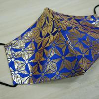 Lサイズ! 西陣織 金襴 絹織物 マスク 青地 麻の葉紋様