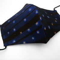 Lサイズ! 西陣織 金襴 絹織物 マスク 紺地 黒 青 小花とストライプ
