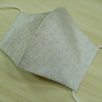 M 西陣織 金襴 絹織物 マスク 白地 七宝紋様 白金