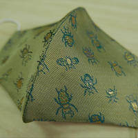 Lサイズ! 西陣織 金襴 絹織物 マスク 白茶地 24insects紋様
