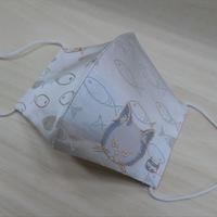 M 西陣織 金襴 絹織物 マスク nya! cat にらみちゃん 水色