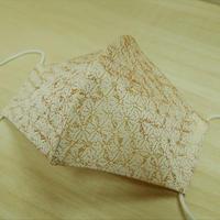 Lサイズ! 西陣織 金襴 絹織物 マスク 白地 麻の葉紋様 白金